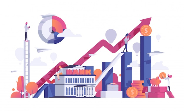 ビジネスの人々は銀行イラストを融資します。財務分析成長グラフィックオフィス。銀行のコンセプト、お金、男の背景デザイン。