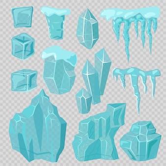 Ледяные шапки сугробы и сосульки элементы вектора набор