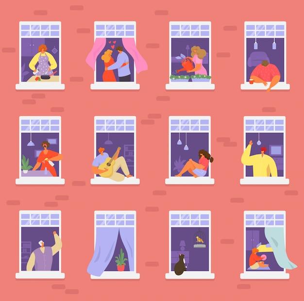 ウィンドウの図、漫画のアクティブな男性の女性またはカップルのキャラクターの隣人は、近隣のホームアパートメントセットに住んでいます
