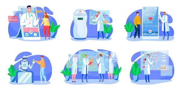 デジタル医学イラストセット、アプリ医師相談、白で隔離される近代的な技術と漫画医療ヘルスケア