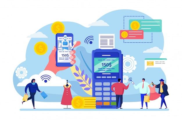 Приложение для мобильных платежей. мультфильм женщина мужчина персонаж купить, крошечные люди платят с помощью приложения для смартфона на белом