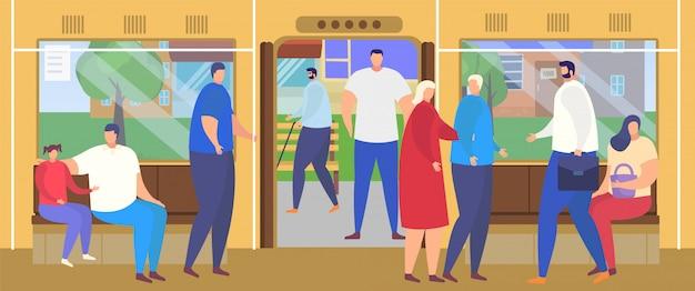 Люди выходят на остановке автовокзала, пассажиры мультфильма ездят в оживленном салоне общественного транспорта