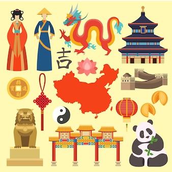 中国のアイコンベクトル。