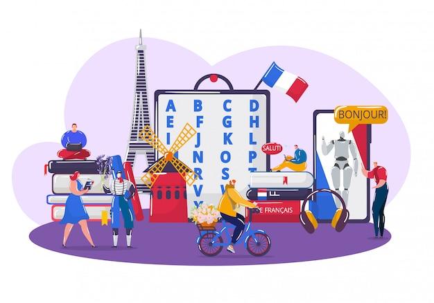 Изучая французский язык, мультяшные крошечные студенты учат французский, используя приложение смартфон на белом