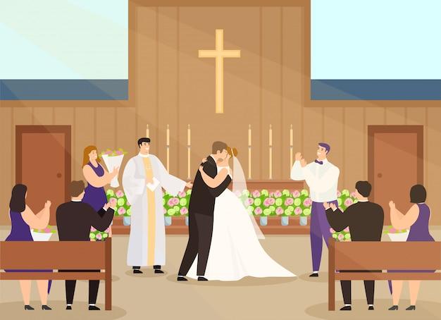 Свадебная церемония в церкви, мультяшные персонажи счастливой пары женятся и целуются в интерьере часовни