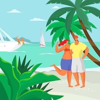 Мужчина и женщина стоят на пляже у моря под пальмой и улыбаясь мультфильм иллюстрации.
