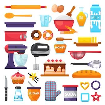 白で隔離されるキッチンで調理器具とカップケーキやパイを調理のケーキイラストケーキセットのベクトルキッチン用品と食品ベーカリー成分を焼く