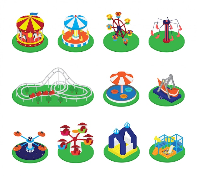 カルーセルベクトルメリーゴーランドまたはラウンドアバウト交差点と遊園地イラストセットのカーニバルサーカス