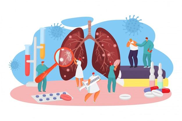 Лечение коронавируса вируса в больнице, иллюстрации. врачи осматривают зараженные бактериями легкие и делают прививки.