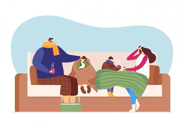Забота заболевания гриппа, холодный сезон болезни на семье, иллюстрация. мужчина женщина характер здоровья лихорадка лечение, здравоохранение.