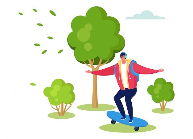 Активные спортивные люди иллюстрации, мультфильм счастливый человек персонаж скейтбординг в летний открытый городской парк на белом