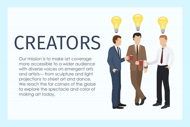 Мужские создатели стоя вместе с иллюстрацией знамени чашек кофе. лампа как знак идеи. рабочие в официальных костюмах, имеющие перерыв