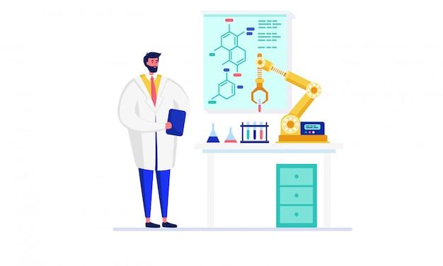 イノベーション研究室イラスト、白のロボットを使用して実験を行う漫画ドクターキャラクターの科学者