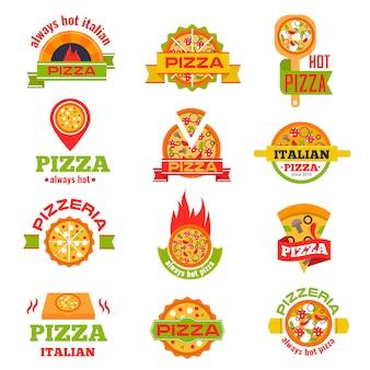 Доставка пиццы логотип значок набор векторные иллюстрации.