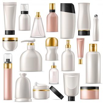 化粧品ベクトルスキンケアクリームボトルテンプレートとチューブまたはコンテナーのモックアップ