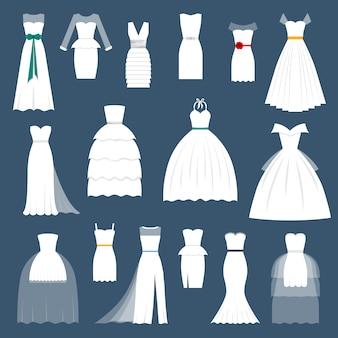 結婚式の花嫁ドレスエレガンススタイルのお祝いベクトル