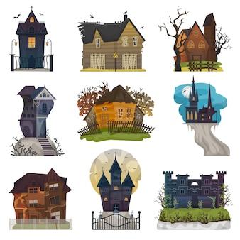 Жуткий дом вектор с привидениями замка с темным страшным кошмаром ужасов