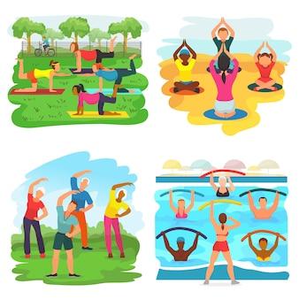 Тренировка упражнения вектор активных людей, осуществляющих с тренером в спортивной группе в парке иллюстрации набор