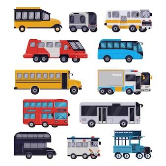 Автобусная экскурсия на общественном транспорте или городской транспорт школьный автобус экскурсионный автобус, перевозящий пассажиров иллюстрация транспортный набор транспортабельного автомобиля на белом фоне