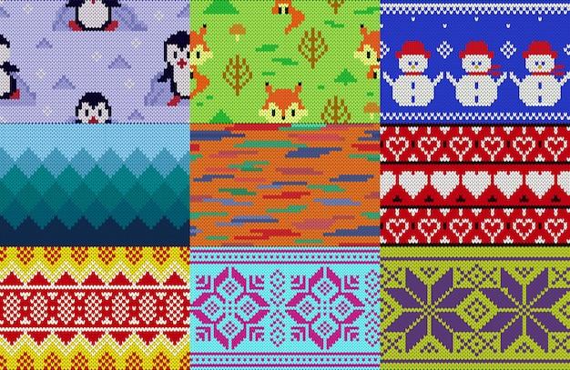 Вязание узор вязать шерсть текстуру фона традиционный вязаный зимний свитер орнамент иллюстрации бесшовные набор дизайна ручной вязки трикотажного фона
