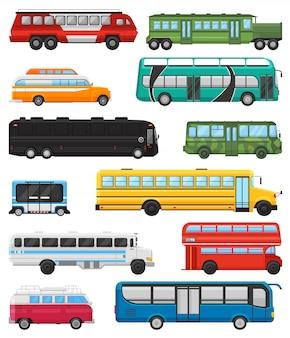 Автобусная экскурсия на общественном транспорте или городской транспорт, перевозящий пассажиров школьный автобус и транспортабельный набор для иллюстрации автомобилей, изолированных на белом фоне