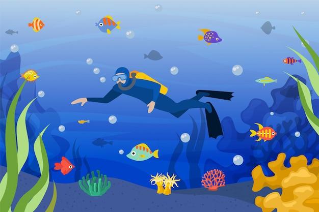 ダイバー水中、イラスト。熱帯魚と海洋活動スポーツのスキューバ人、青い水の中のマスクとダイビング。