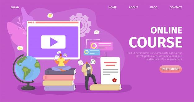 Онлайн образование, технология курса студента, иллюстрация. знания в компьютерном интернете, дистанционное обучение. люди