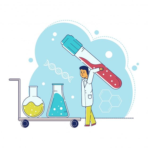 ライン研究室研究イラスト、漫画の小さな科学者のキャラクターが白の試験管で実験テストを行う