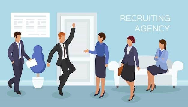 オフィスでのインタビュー、募集代理店の求人、イラスト。廊下での雇用、雇用。