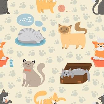 かわいい猫キャラクターの異なるポーズベクターのシームレスパターン
