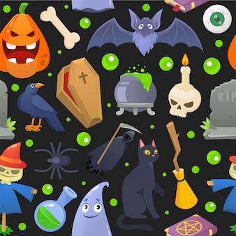 ハロウィーンホラーパターン、漫画のカボチャのイラスト。不気味な休日のシームレスな背景、怖い幽霊の祭典。