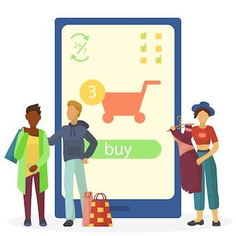 オンラインのスマートフォンストア、モバイルビジネスマーケティングの図。アプリの技術コンセプト、コマース決済で購入する人々