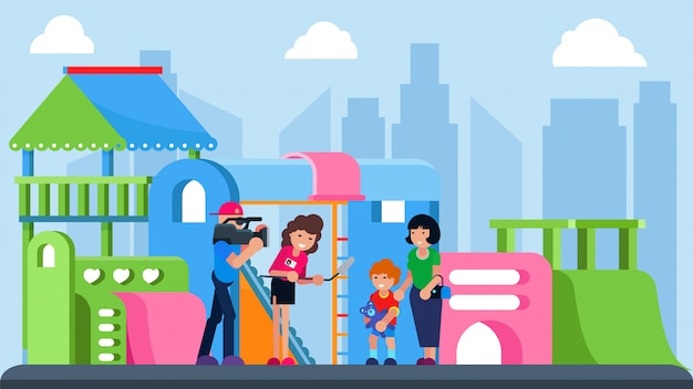 市の遊び場、イラストでカメラインタビューの子供を持つジャーナリスト。若い男の子の漫画のキャラクターのビデオニュース。