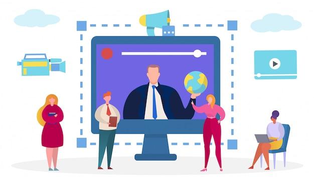 Деловое общение на компьютере, иллюстрация интернет-телеконференции. люди, персонажи цифровых онлайн командных технологий