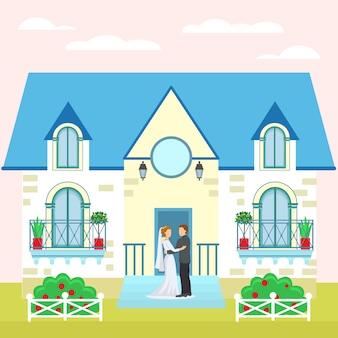Пары свадьбы около иллюстрации дома, жениха и невеста. мультяшный счастливый праздник, романтические люди в любви возле здания