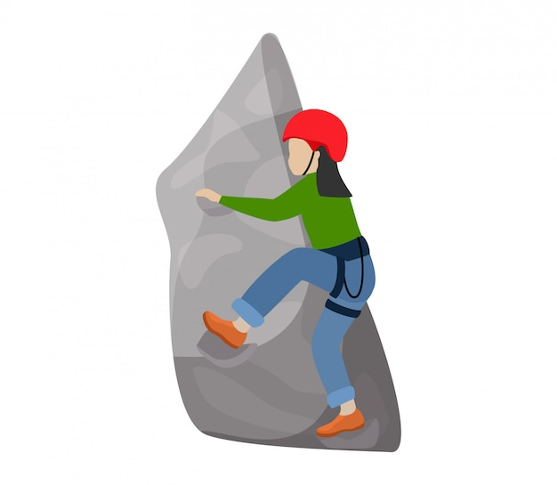 Дети альпинист альпинист дети персонаж поднимается рок горная стена или гористый утес иллюстрация альпинизм набор ребенка в экстремальных видах спорта альпинист на белом фоне