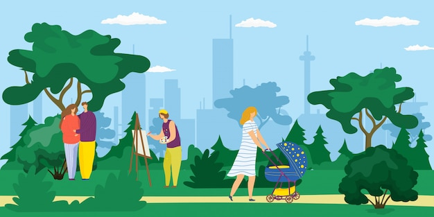 都市公園、乳母車を持つ若い母親、絵を描くアーティスト、幸せなカップルの漫画イラストの屋外を歩く人々。木々に囲まれた夏の公園での楽しみ、仕事、レジャー。