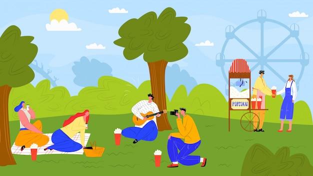 屋外の自然でのレジャー、公園の図の人々の文字。夏の漫画活動、草でピクニックの女性男性人。休日は木の近くでリラックスし、女の子の男の子は風景で残りを持っています。