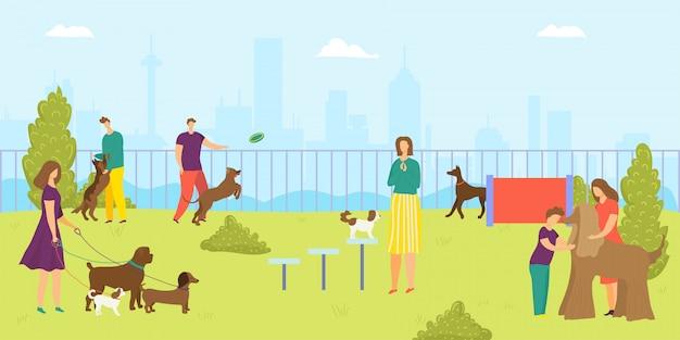犬のペット、イラストの公園。男性女性キャラクターと漫画幸せな動物、幸せな若者のアウトドアライフスタイル。自然で子犬の活動、楽しい夏の散歩、レジャーを一緒に。