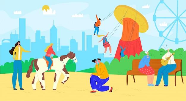 Семья в парке атракционов с каруселью, развлечениями на иллюстрации ярмарочной площади. счастливый мужчина женщина дети на ярмарке, карнавал отдыха. фестиваль мультипликационных досуговых каникул.