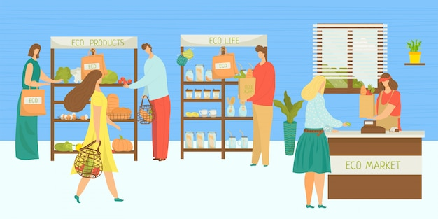 エコマーケット、オーガニックストアイラストの人々。食料品店、野菜店で漫画の果物食品小売販売。健康的な生鮮食品、男性女性キャラクターの消費者と地元のスーパーマーケット。