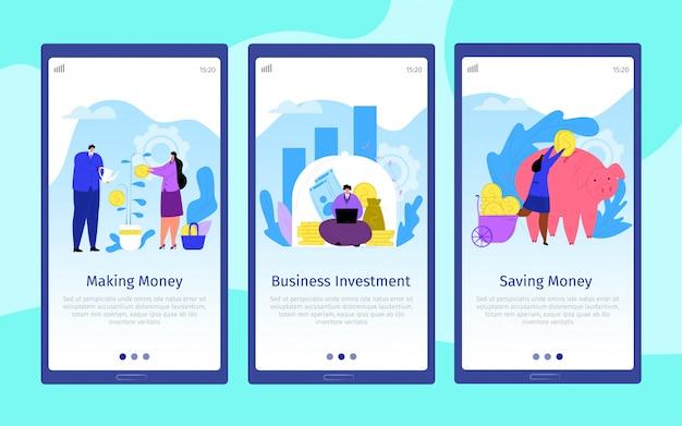 Деньги бизнес мультфильм люди, веб-мобильный набор иллюстрации. успех коммерция монет концепция, страница инвестиций финансов. платежная посадочная страница на телефоне, банковский финансовый капитал.