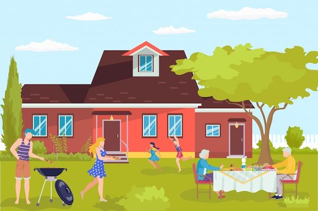 自宅でバーベキュー、漫画のバーベキューキャライラスト。屋外の家の庭、家族の裏庭でのピクニック。お父さんお母さんとお子さんは外でパーティー、幸せな人たちと一緒に。