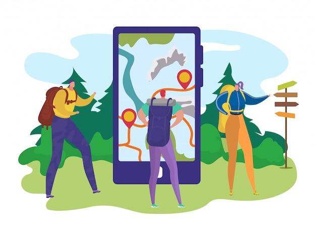 観光スマホ、イラストで旅行の地図。男性女性キャラクターのバックパックでハイキング、携帯電話で漫画観光。休暇でハイキングする人、アドベンチャーライフスタイル向けのモバイルアプリ。