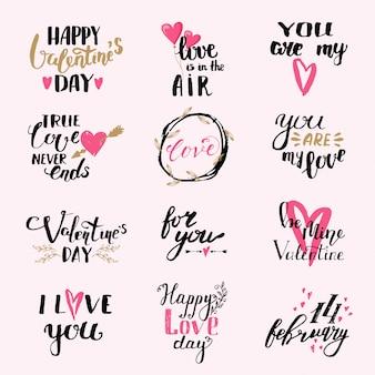 Счастливый день святого валентина надписи набор. ты моя любовь. любовь витает в воздухе. я люблю тебя.