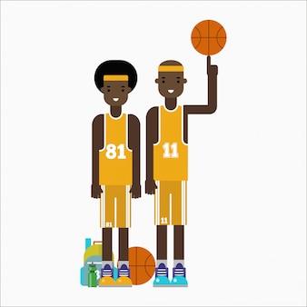 バスケットボールプレーヤーチーム文字ベクトル。