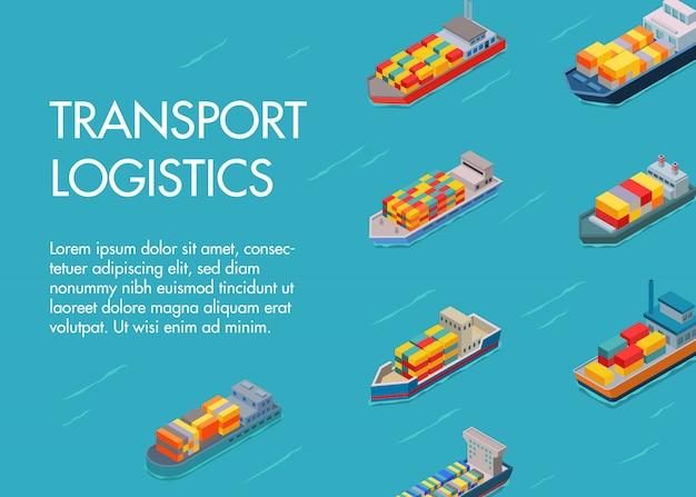 Морской грузовой транспорт и грузовые автомобили текстовый шаблон. морской и морской контейнеровоз с импортно-экспортной транспортной отраслью. транспортная логистика.