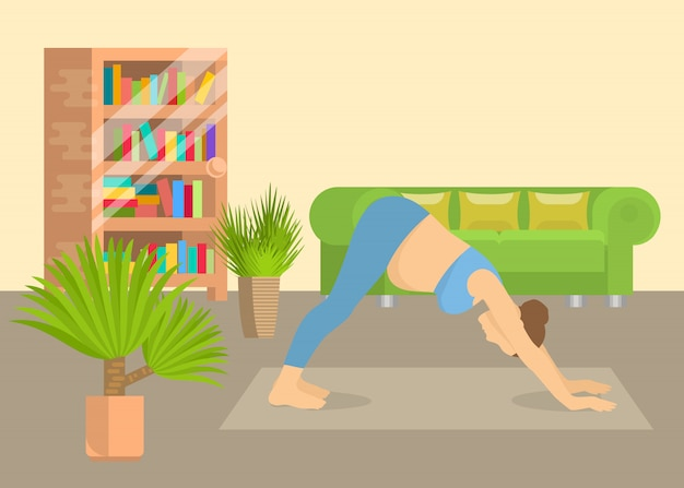 自宅のリビングルームのインテリアのベクトル図でヨガの姿勢の若い女性。エアロビクス運動と朝の瞑想を行う少女。身体的および精神的なヨガの練習。