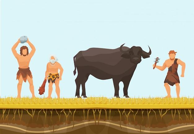 Примитивные охотники или пещерный персонаж с диким быком векторные иллюстрации. охота с примитивным оружием.