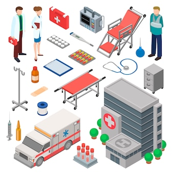 救急車、医師のキャラクター、および医療ヘルスケア要素のセット